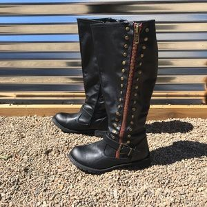 Journee Collection black studded knee high boots